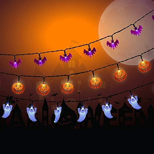 Halloween Battery Operated led Fairy String Lights White Ghosts, Purple Bats, Orange Pumpkins 30 LEDs Battery Powered Lights for Halloween, Christmas, Holiday Party Decoration by Pennyy
