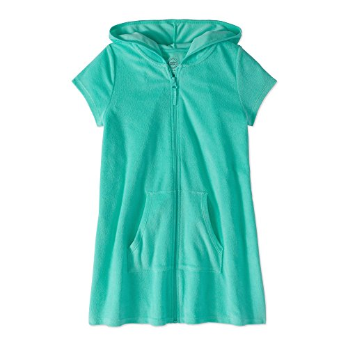 Wonder Nation Girls Hooded Zip Front Terry Swimsuit Cover Up (Medium 7/8, Aqua Mint)