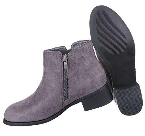 Damen Boots Stiefeletten Schuhe Mit Reißverschluss Schwarz Grau 36 37 38 39 40 41 Grau