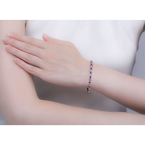 Infinity Rubis et Diamant Bracelet de Tennis en or blanc (19cm)