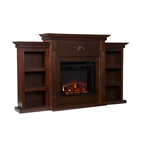 SEI Tennyson Electric Fireplace with Bookcases, Espresso