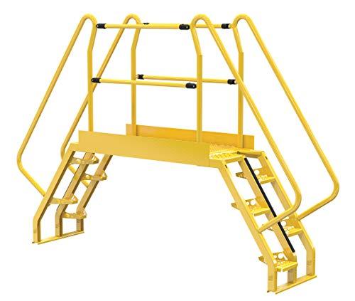 """Vestil COLA-3-56-56 Yellow Alternating Cross-Over Ladder, 118"""" x 81"""", 10, 350 lb. Capacity"""