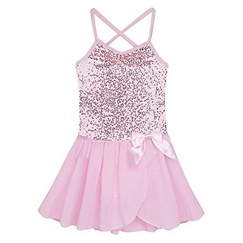 dPois Kids Girls' Shiny Sequined Criss Cross Back Lyrical Ballet Dance Chiffon Tutu Dress Performance Dancing Costumes Pink 7-8