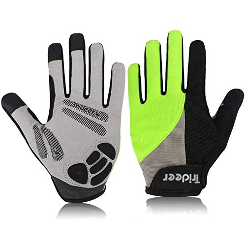 Trideer Padded Full Finger Cycling Gloves, Touch-Screen Mountain Road Gloves Anti-Slip, Bicycle Racing Gloves Biking Gloves (Full Finger Green, M (Fits 7.0-7.6 inches))