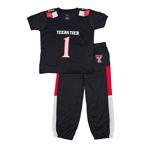 (FAST ASLEEP NCAA Texas Tech Red Raiders Boys Toddler/Junior Football Uniform Pajamas, Size 5T, Black/Red)