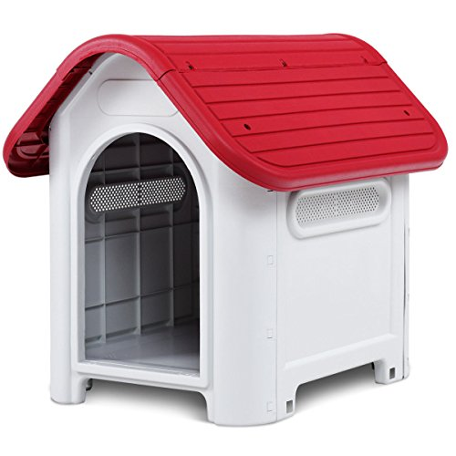 Giantex Outdoor Indoor Pet Dog House Portable Waterproof Plastic Puppy Shelter All Weather Roof Cat Dogs House with/Without Skylight (Red, Without Skylight) Review