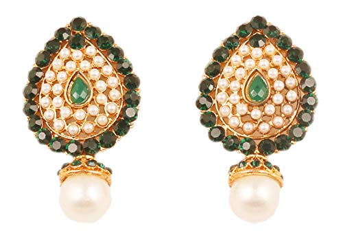 (NEW! Touchstone Indian Bollywood Desire Traditional Style Faceted Faux Emerald Pearls Grand Look Designer Jewelry Earrings In Antique Gold Tone For Women.)