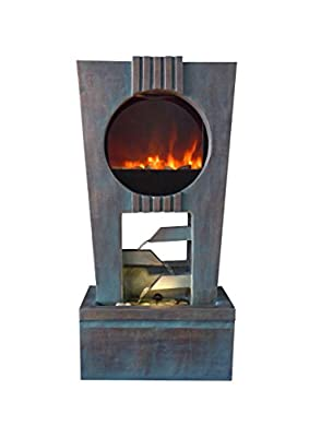 Benzara Cascading Fireplace Fountain with LED Lights