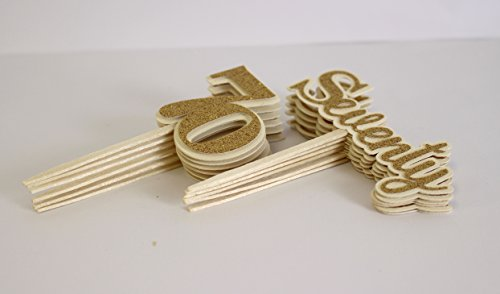 All About Details Gold Seventy Cupcake Toppers, Set of 12