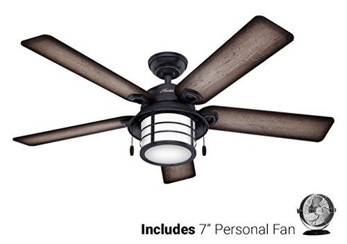 Biscayne Ceiling Light (Hunter Outdoor Ceiling Fan Silver 59135 Key Biscayne 54
