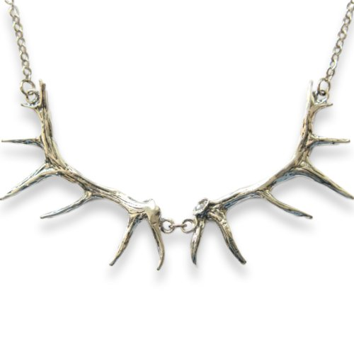- Moon Raven Designs - Elk Antler Bib Necklace - Silver Plated White Bronze - Jewelry with an Edge Inspired By Nature