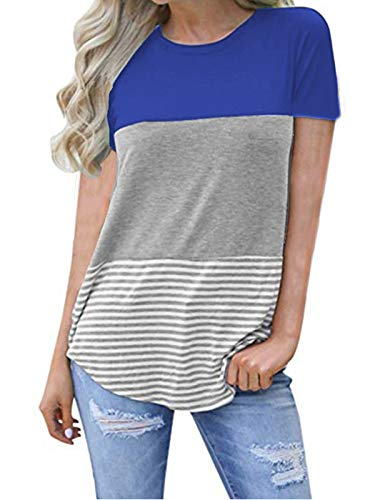 kigod Women's Fashion Round Neck Short Sleeve Top Tunics Blouse Triple Color Block Stripe T-Shirt (Blue, X-Large)