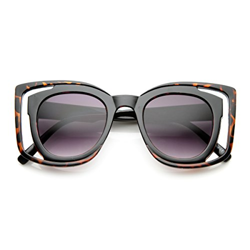 (Women's Double Frame Oversized Square Glam Cut-Out Sunglasses (Tortoise-Black Lavender))