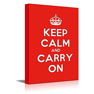 Canvas Wall Art Gallery Wrap Canvas Prints - Keep Calm and Carry On | Stretched Red Canvas Home Art Ready to Hang - 32