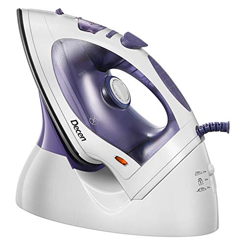 Decen UltraPower Steam Iron 2 in 1, 1200 Watt Cordless Iron with Nano-Ceramic Soleplate&Steam Control, Anti-Drip&Anti-Calc, 300ml Watertank, 1000g Steam, Vertical&Horizontal Steam, Self-Clean Function