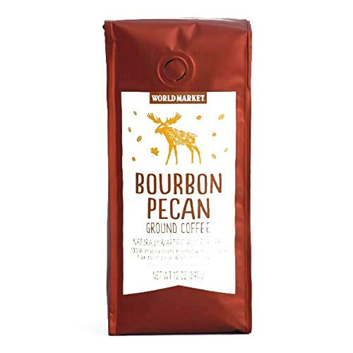 World Marke Bourbon Pecan Ground Coffee Beans - Seasonal Limited Edition Coffee Pure Arabica, Great Aroma Rich Flavored Coffee | Gourmet Blend of Central & South American | 12 Ounce, 1 Pack