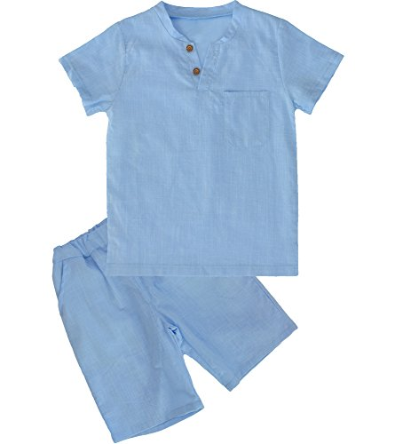 POBIDOBY Boy's T-Shirt and Shorts Set Cotton Linen Summer Short Sleeve Children Two Pieces Clothing Sets LightBlue 5T -