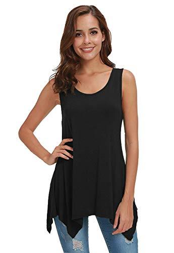 Fengtre Women Sleeveless Tunic Loose-fit Flowy Essential Long Tank Tops, Black M ()