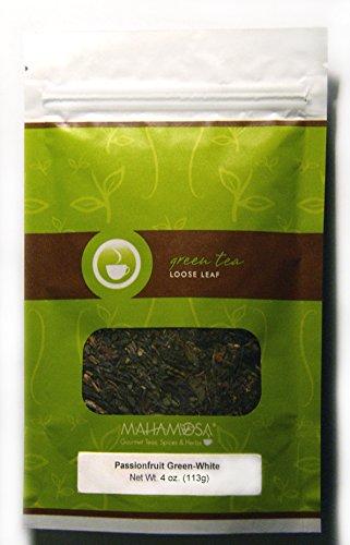 Mahamosa Passionfruit Green-White Tea 4 oz (with pineapple,papaya,strawberry), Flavored Loose Leaf (Looseleaf) Green Tea and White Tea Blend