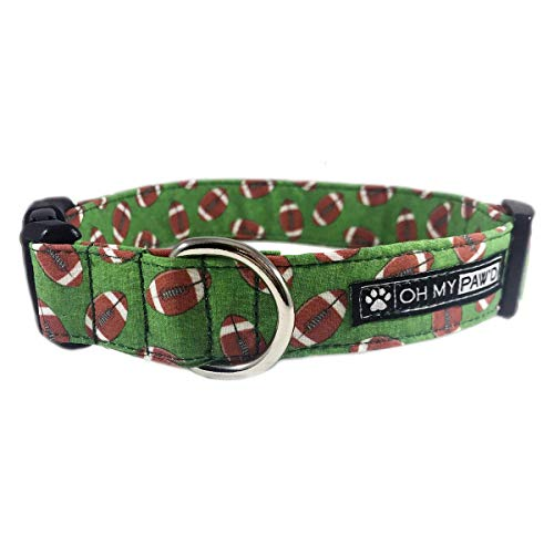 Football Dog or Cat Collar for Pets Size Small 3/4'' Wide and 10-14'' Long by Oh My Paw'd