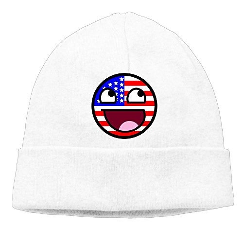 American Flag Funny Emoticon Unisex Cool Hedging Hat Wool Beanies Cap White By Carter (Funny Golf Costumes Uk)
