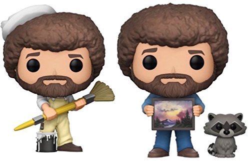 Funko Pop  Tv Bob Ross In Overalls And Bob Ross With Raccoon   Collectible Figure Set Of 2