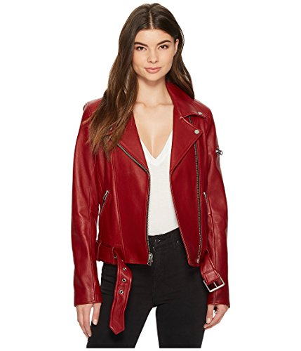 7 For All Mankind Women's Rib Moto Jacket Rustic Wine Medium