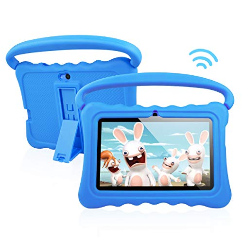 Kids Tablet PC Android 8.1 OS 7 Inch Full HD Display Tablets for Kids 1GB RAM 16 GB Storage Quad-Core 1.3Hz WiFi Tablet Soft Shock&Kid-Proof Case (Blue) (Tablet Cases Protected)