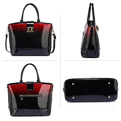 Tote 1 Women New Designer Large Ladies Design Leather Bag Shoulder Fashion Handbag Patent Maroon q67wxF