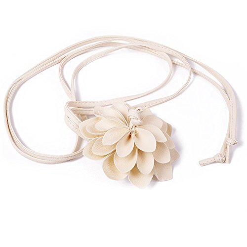 - MedeShe Women's Skinny Braided Free Knot Faux Leather Fashion Dress Waist Belt With Flowers (Cream)