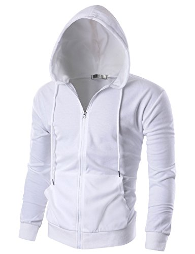 Ohoo Mens Slim Fit Long Sleeve Lightweight Zip-up Hoodie With Kanga Pocket/DCF002-WHITE-M