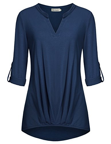Women Sweatshirt, Nandashe Slim Fitted Cuffed Sleeve V Neck Ruched Design Blue M