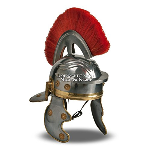 (Medieval Gears Brand Wearable Roman Imperial Itallic Officer Helmet w/Red Crest & Liner LARP SCA)