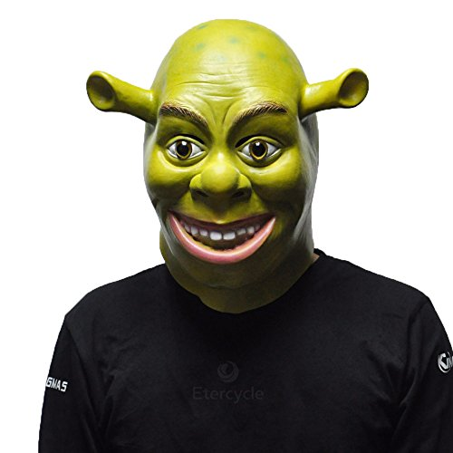 Mask Full Face Party Green Shrek Masks Movie Cosplay Costume Latex Rubber Adult Animal Party Props Halloween ()