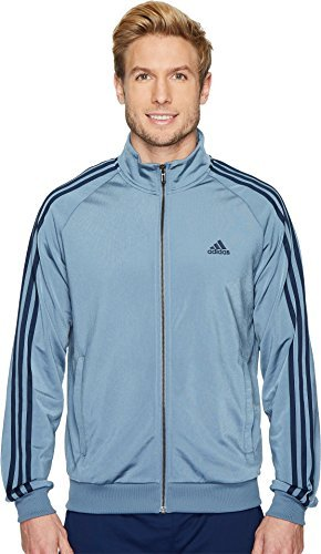 adidas Men's Essentials 3-Stripe Tricot Track Jacket, Raw Steel/Collegiate Navy, X-Large
