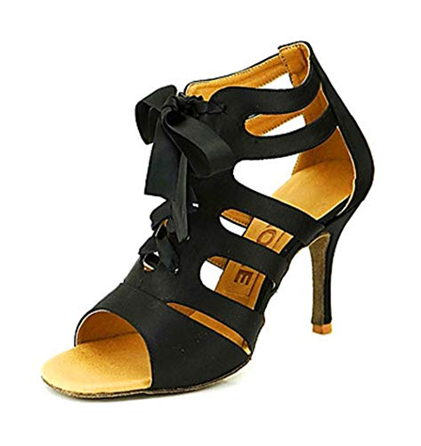 Eu35 uk3 004 Dance Just Square Shangyi Shoes Heel High Mouth Latin Jazz Black cn34 Fish xw1O7I