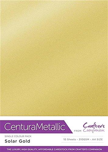 Cardstock Soalr 34.4 x 22.5 x 0.5 cm Centura Metallic Single Colour 10 Sheet Pack-Solar Gold