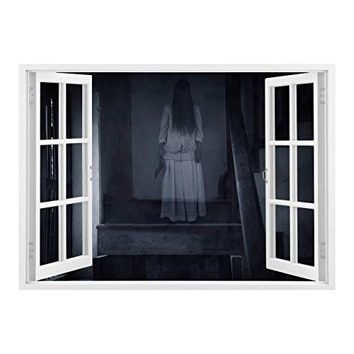 SCOCICI Peel and Stick Fabric Illusion 3D Wall Decal Photo Sticker/Halloween,Horror Scenery Ghost Girl Figure on Stairway Holding Axe Murder Violent Nightmare Decorative,Grey White/Wall Sticker Mural ()