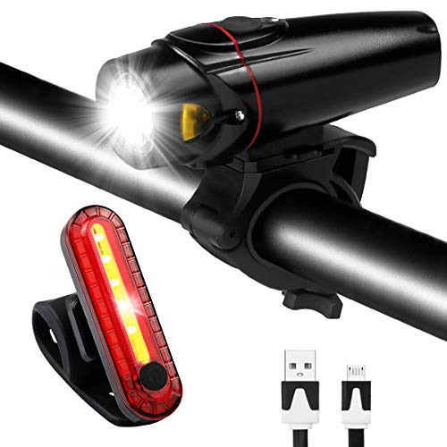 Bike Light Set USB Rechargeable Waterproof Bicycle Front and Rear Lights Safety LED Night Headlight Taillight for Mountain Road & Kids Bicycles by RODH