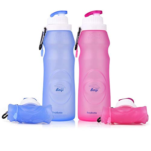 Collapsible Silicone Water Bottles - Sports Camping Canteen 20 Oz. - Easy to Clean and ()