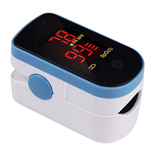 CHOICEMMED Sky Blue Finger Pulse Oximeter – Blood Oxygen Saturation Monitor – SPO2 Pulse Oximeter – Portable Oxygen Sensor with Included Batteries – O2 Saturation Monitor with Carry Pouch