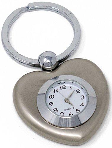 Silver Heart Clock Keychain - Silver Heart Clock