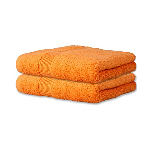 Flauschiges Gästehandtuch 2 tlg.   13 moderne Farben und viele Größen   100% Baumwolle Frottee Qualität ca. 500g/m²   Doppelpack Größe 30 x 50 cm   Serie Bari   CelinaTex 0001350   orange