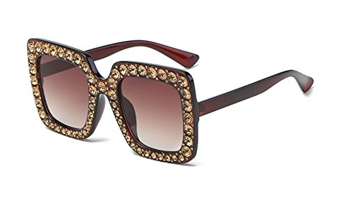 CL New Europe and American Style Fashion Retro Vintag Squere Artificial Crystal Diamond Sunglasses (Color ()
