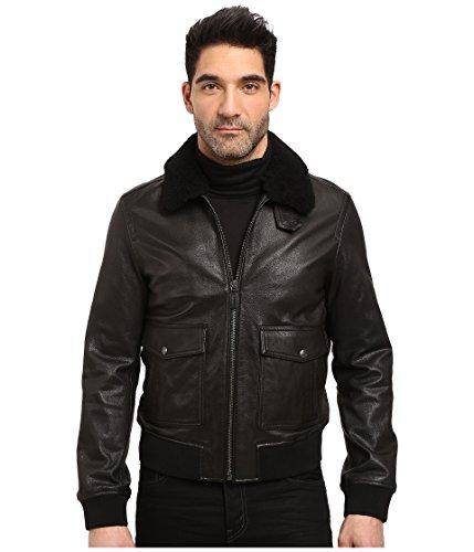 COACH Black Leather Shearling Collar BOMBER Jacket Coat F84862