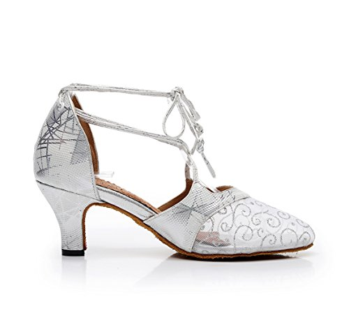 Almond Dancing Silver Toe Floral Wedding Pumps Mesh Printed 2 Ladies Shoes Latin UK MINITOO awpTqfRX