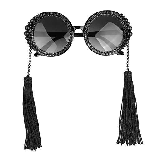 dPois Womens Retro Vintage Plassic Large Round Circle UV400 Protection Sunglasses with Tassel Pendant Black One Size