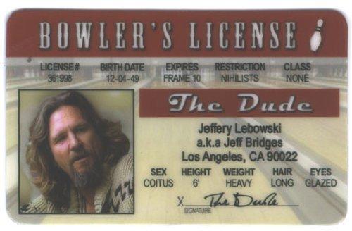 Big Lebowski Fun Fake ID License