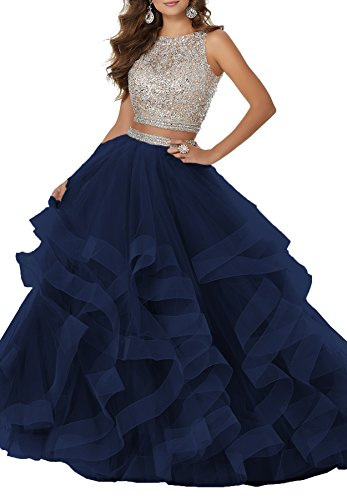 Women's Sexy Beaded Two Piece Prom Dresses Long Asymmetric Layered Tulle Formal Prom Ball Gown S039 (14,Navy Blue) Two Piece Bridal Dress