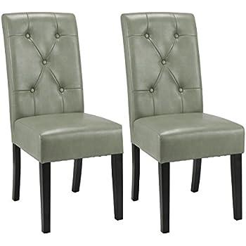 Amazon Com Giantex Set Of 2 Dining Chairs Tufted Pu